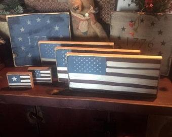 Americana folk art, folk art flags, 1776 flags, flag picks,wooden flags