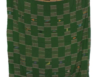 Ewe Cloth Embroidered Stripes Green Ghana Togo African Art 106690