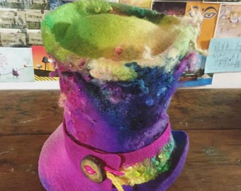Hand felted Top Hat 'Pastel Rainbow' - hand dyed wool handmade felt millinery - bright neon pink lime purple teal - MADE to CUSTOM ORDER