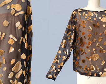 RARE 1920s Blouse / 20s BURNOUT Devore Silk Velvet / Sheer Chiffon Blouse / Art Deco / Abstract Shapes