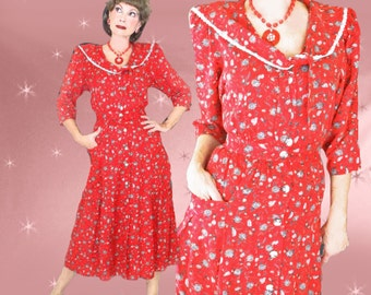 Red Vintage Day Dress - 40s Style Dress - 80s does 1940s Midi