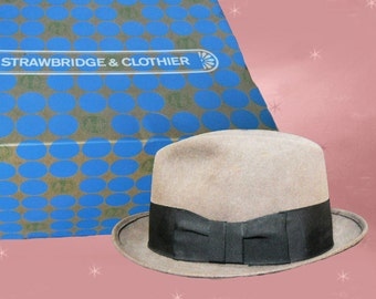 Fedora Hat and Hatbox - Mens Vintage Fedora Hat Box - Retro Stingy Brim Fedora - UNUSED Mint Condition - Mens Hatbox - Mens 50s Fedora Hat