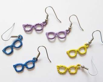 Colorful Sunglasses Earrings Purple Yellow Sunglasses Charm Earrings Summer Jewelry