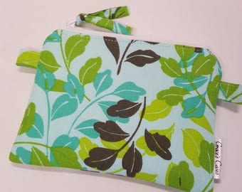Mini zipper Pouch in Spring Green Leaves