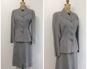 1940s Suit 40s Gray Woven XS Blazer Jacket Skirt Set