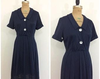 1950s Korell Nylon Navy Blue Dress 50s