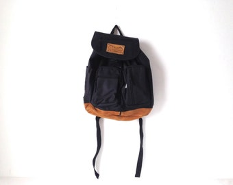 jansport style 90s black LEATHER & canvas RUCKSACK backpack