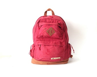 OZARK bakcpack jansport style 90s maroon & canvas RUCKSACK backpack with original buttons and patches