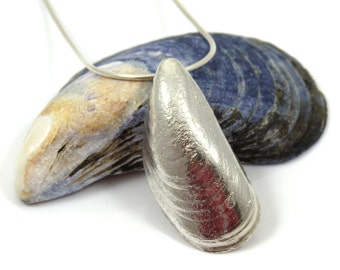 Sterling Silver Mussel Shell, Sterling Necklace, Silver Shell, Silver Mussel, Silver Seashell Necklace, Mussel Shell Jewelry, Silver Jewelry