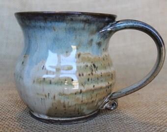 Hand thrown ceramic stoneware coffee mug, ready to ship