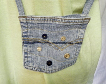 POCKET PURSE Recycled Denim Jean Bag Buttons and Stitching