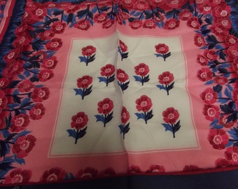 Vintage Scarf - Scarves - Pink and Blue Scarf - Polyester - Daisy Pattern