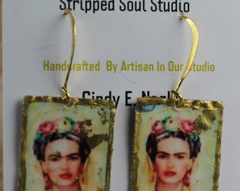 Frida Kahlo Bohemian Image Earring Handcrafted Urban Gypsy Artisan Shabby Chic