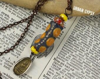 Trade Bead Amulet Buddha Necklace Vintage Inspired Buddha Amulet Urban Gypsy Necklace