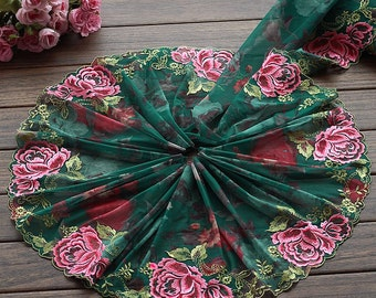 2 Yards Lace Trim Exquisite Big Rose Embroidered Printed Green Tulle Lace 7.48 Inches Wide High Quality