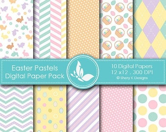 40% off Easter Pastels Paper Pack - 10 printable Digital Scrapbooking papers - 12 x12 - 300 DPI