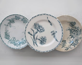 Antique French plates flowers stencils, Blue collection, set of 3, Wall Hanging, Home Decor, Shabby chic