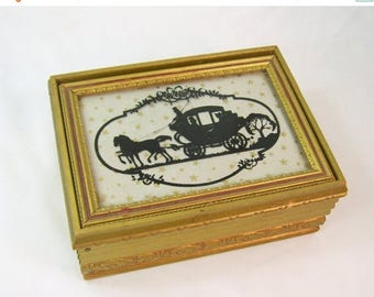 ON SALE Vintage Glass Silhouette Victorian Carriage Picture Framed Wood Jewelry Box Trinket Vanity Antique Gold