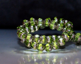 23pcs 6mm Lime Chartreuse and Antique Brass Czech Antique Style Window Glass Crystal Beads