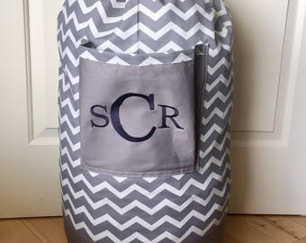 Monogrammed Laundry Duffel Bag, Gray, Gray & White Chevron, Laundry Bag, Laundry Bag for College, Hanging Laundry Bag, Laundry Hamper