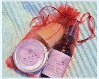 Inner Peace in The Bag Lavender Shea Butter Lotion, Rose Hydrosol Toner and Beeswax Candle