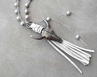 Bull Head / Gray Suede Tassel /  Grey Glass Pearls / Crochet Necklace