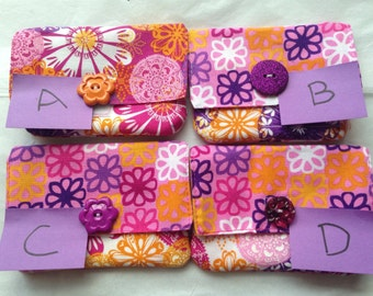 4 different cotton wallets
