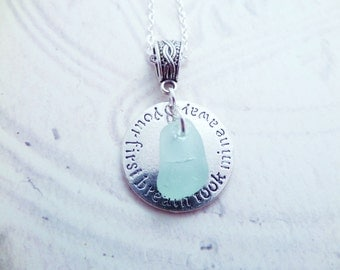 Birthday Gift for Daughter Scottish Sea Glass Necklace in Seafoam Green, Your first breath took mine away, Scottish Gift