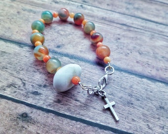 Scottish Rosary Bracelet in Peach and Green with Iona Marble, Beach Pebble, Healing Stone, Protection Jewelry, Catholic Chaplet