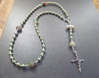 Green Pearl Rosary with Scottish Iona Marble, Protection Stone, White Beach Pebble, Catholic Gift from Scotland