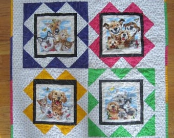 Dog Quilt, Wall Hanging, Lap Quilt, Throw, 27 x 27, Pet Selfies Bright Colors