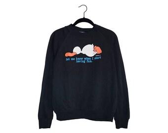 "Vintage 80's ""Let Me Know When I Start Having Fun"" Duck Face Down Jim Benton Black Sweatshirt, Made in USA - Large"