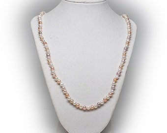 Sterling Silver Freshwater Multicolor Pearl Necklace
