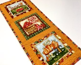 Harvest Quilted Wall Hanging - Fiber Art Table Runner - Orange Gold Fall Decor - Table Topper Quilt - Autumn Wall Art - Pumpkins Handmade