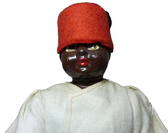 """Antique 1920's African American Black Americana Composition & Cloth Boy 12"""" Doll"""