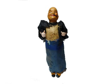 "Antique Paper Mache Composition Chinese Character 6"" Old Man Doll Silk Outfit"