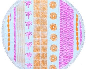 round beach towel, Rosario roundie  - artisan made - high quality