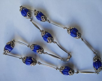 Art Deco Neiger Necklace Chrome with Blue Ribbed Glass Beads  20's 30's