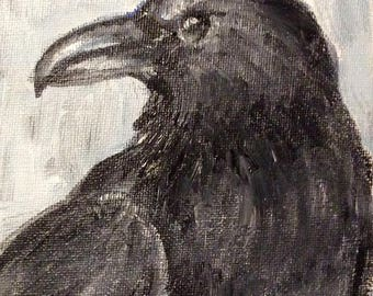 "Ravenl Painting Crow Painting bird painting original art 7 x5"""