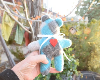Spring Sale - 30% off - Small Teddy Bear - Felted Cashmere in Teal and Light Grey Argyle
