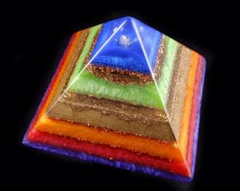 Orgone Pyramid.  Orgonite ®   with Phenacite, Petalite, Tibetan, Arkansas & Crystals; Elite Shungite, Black Tourmaline, Rhodizite, Selenite