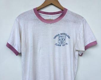 Vintage 1970s CLASS of 70 Ringer Upper Moreland Distressed School T Shirt M