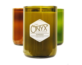 11 oz. Sungold Wine Bottle Soy Candle - Honey, Lime, Geranium & Rose Scented