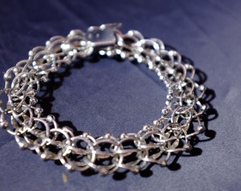 "Sterling STG GAJ Charm Link Loops Bracelet 7 3/4"" No Charms"