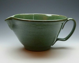 NEW Green Ceramic Batter Bowl, (FREE Pottery GIFT with Purchase) Mixing Bowl, Handmade Pottery