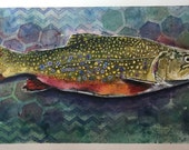 Original Watercolor Painting, Trout painting, Fish Painting, Original Painting, Colorful Art,