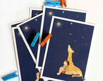 BOY and GIRAFFE POSTCARD 2 - Children's Wall Art Print - Kids Decor - Wall Art Illustration - Nursery Giraffe Print  - star -  4.1 x 5.8 in