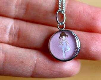 BALLERINA PENDANT (Small and Medium) - Handmade resin pendant with stainless steel chain - Perfect for little or big girls