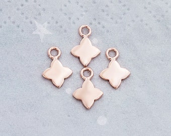 4 of 925 Sterling Silver Rose Gold Vermeil Style Flower Charms 7 mm.   :pg0376