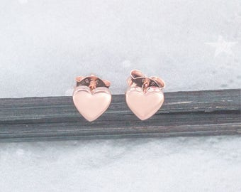 1 Pair of 925 Sterling Silver Rose Gold Vermeil Style  Heart Stud  Earrings 6mm. : pg0455